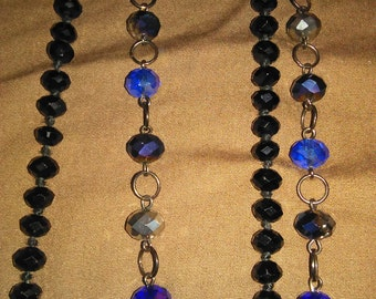 long, black and blue dangle necklaces with additional FREE necklace