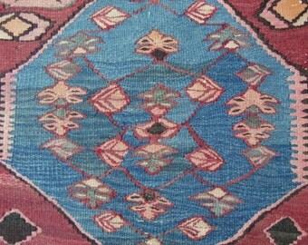 Vintage Kurdish Kilim rug, Tribal Bidjar kilim - 4'4 x 9'6 - Free shipping!