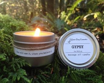 Gypsy Massage oil candle,Aromatherapy candle, Hot massage oil, Aphrodisiac,boyfriend/girlfriend gift ideas, Edible massage oil