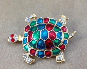 Stunning Estate Red Blue Green Enamel Rhinestone Turtle Goldtone Brooch