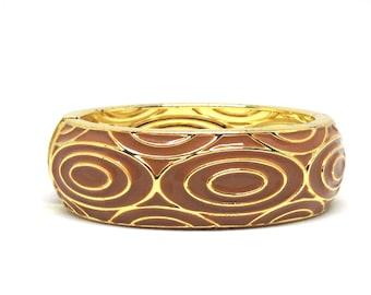 Gorgeous Estate  Brown Enamel Gold Tone Unique Clamper Bracelet