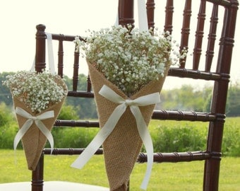 Wedding Pew Cones Burlap Wedding Church Pew Cones Church Pew Decorations Rustic Pew Cones Church Flower Holders