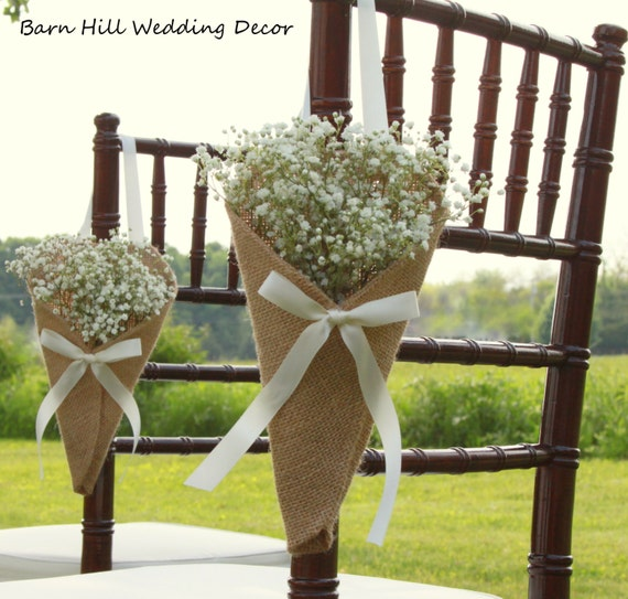 Wedding Pew Decoration Ideas: Wedding Pew Cones Burlap Wedding Church By
