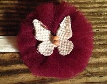 Maroon Butterfly headband