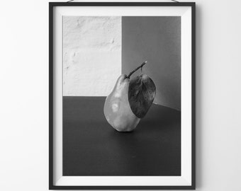 Pear Photography Print, Black and White Wall Art