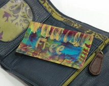 Wallet Art ~ Free ~ Card Sized Art, Gold Hand Lettering, Break Up Encouragement Gift, Single Ladies Purse Accessory, Gift for New Age Hippie