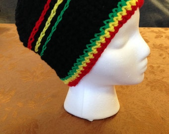 Size Large Winter Hat Men's or Women's Black with Red,Yellow and Green Trim