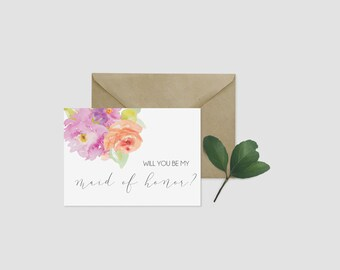 Will You Be My Maid of Honor Card - Instant Download