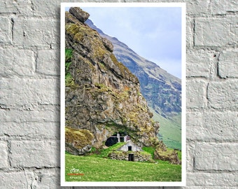 Fine Art Print, Rustic Turf House at base of Basalt Cliff, Iceland
