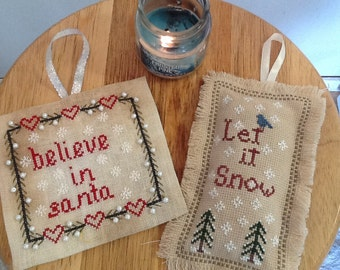 Cross Stitch patterns,  Set of two, Primitive Cross Stitch, Let it Snow,  and Believe in Santa Set