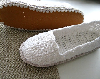 White Crochet Slippers with Faux Leather Soles, White Lace Slippers, Cotton Slippers, House Shoes, Espadrilles, Crochet Toms, Non-Slip