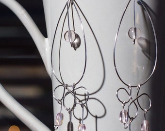 Drop Hoop Chandelier Earrings with Light Pink Czech Glass Beads