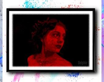 Amoreena, Portrait Print, Woman Painting, Abstract Girl, Portrait Art, Beautiful Woman Portrait, Abstract Decor