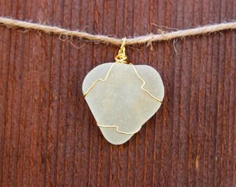 White Sea Glass and Wire Pendant