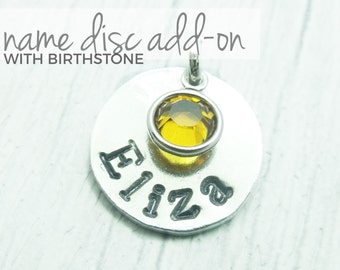 Add On Name Disc With Birthstone