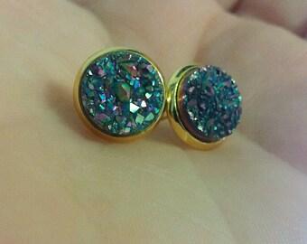 Titanium Coated Druzy Rainbow quartz earrings