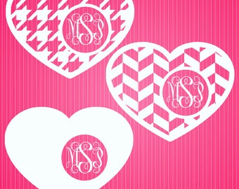 Hearts A Plenty 2 Monogram Frame Cutting Files in Svg, Eps, Dxf, Png, Jpeg, and Studio for Cricut & Silhouette