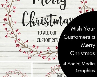 4 Merry Christmas to our customers Social Media Graphics pinterest instagram twitter Facebook banner