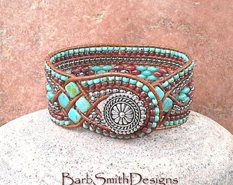 """Turquoise Coral Beaded Leather Cuff Wrap Bracelet - The Queen of Diamonds in Turquoise n' Poppies - Size 6 7/8"""" Around"""