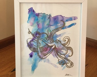 Watercolour Octopus Drawing