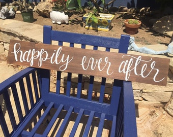 "Engagement Sign, Anniversary Sign, Wedding Sign, Reclaimed Wood ""happily ever after"" Wedding Sign"