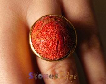 Natural Coral Ring (handmade) (SE-R-032)