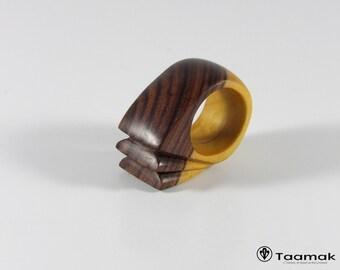 Ring carved Kingwood