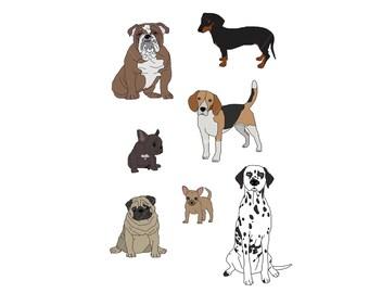 Dogs Print - A4 Digital Illustration Art Print