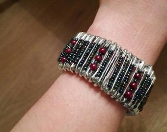 Handmade safety pin glass beaded bracelet