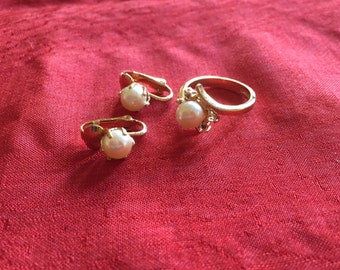 Faux pearl ring and earrings