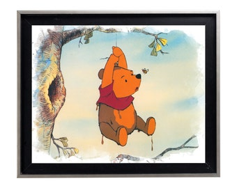 Winnie the Pooh and the bee Watercolor Art Print Matte Print Poster 16 x 20 Splatter