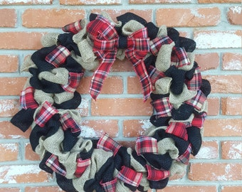 Black, tan, and red plaid burlap wreath