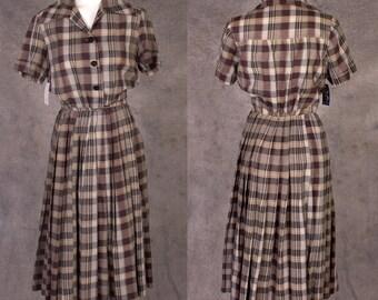 Vintage 1950s Crisp Pleated Plaid Cotton Day Dress NWOT