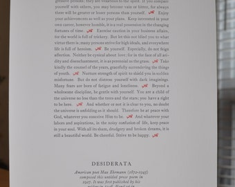 The Desiderata - prose poem by Max Erhmann, printed letterpress