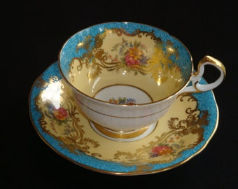 Aynsley Doris Shape Floral and Teal Tea Cup and Saucer ~ Pattern C555
