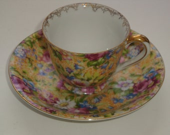 M.B. Occupied Japan Chintz Demitasse Cup and Saucer