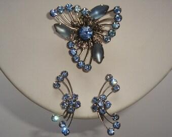 Beau Jewels Shades of Blue Rhinestones Brooch and Earrings Set
