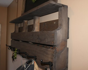 Wood Pallet Shelf with hooks  Reclaimed wood Custom made to order