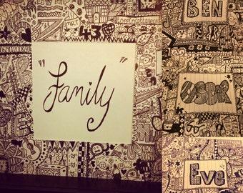 Personalised doodle art frame