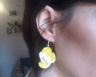 Rose shaped yellow crochet earrings