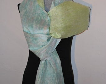 SALE 50% Felted Eco Superfine Merino Wool,Tussah Silk Long Scarf OOAK