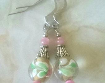 Pink Flower Glass & Tiger Eye beaded earrings