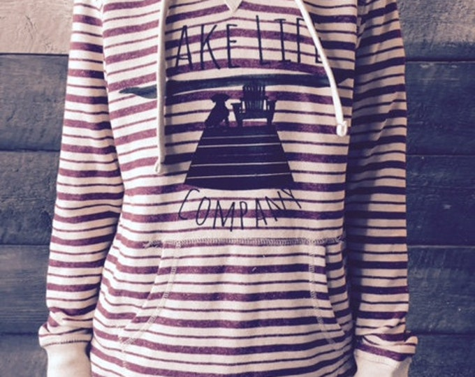 Women's Striped Hoodie: Lake Life Company Apparel. Lake Life Candle Co.