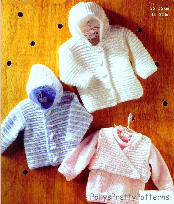 PDF Knitting Pattern Babys Hooded Jacket Sweater and