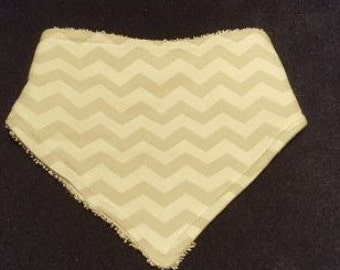 Light Gray Chevron Baby Bandanna Bib With Terrycloth Backing
