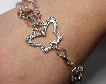 Butterfly Triple Strand Bracelet - Spring - Swarovski Crystal Bracelet in Light Peach