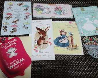 7 vintage Get Well cards greeting cards dogs cats bunnies 1950's scrapbooking mixed media art supply