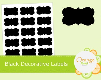 Black Decorative Labels, Chalkboard Stickers