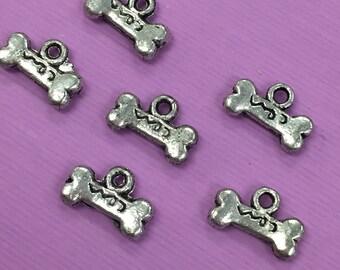8 Dog Bone Charms, Dog Bone Charm, Dog Bone Jewelry, Dog Jewelry, Dog Bone Pendant, Silver Dog Bone Charm, Dog Bone Charms,Dog Bone Pendants