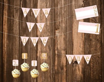PDF Digital Files -- Pink and Gold First Birthday Party Banners, Labels, & Cupcake Toppers